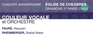 Concert anniversaire 30+, Requiem de Fauré, Stabat Mater de Rheinberger